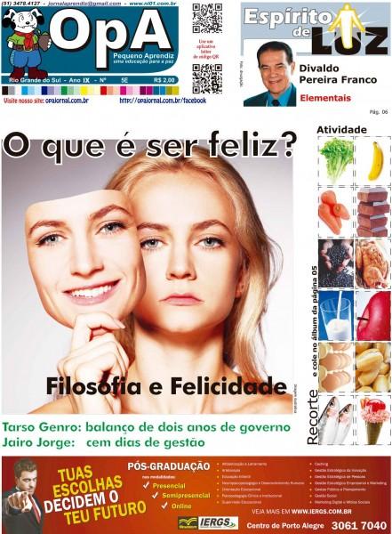 Capa do jornal O Pequeno Aprendiz Edição Especial 5E de Abril de 2013
