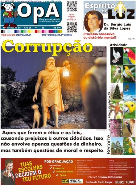 Capa do jornal O Pequeno Aprendiz Edição Especial 6E de Maio de 2013