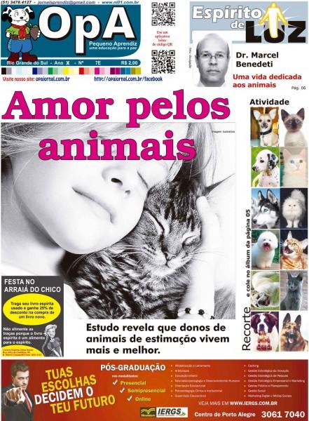 Capa do jornal O Pequeno Aprendiz Edição Especial 7E de Junho de 2013