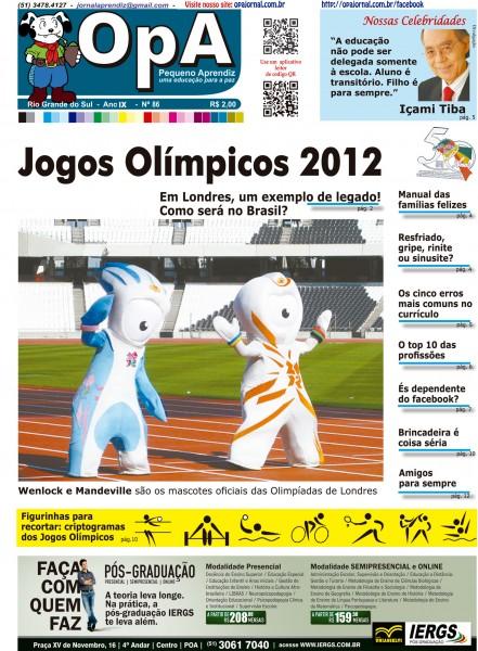 Capa do jornal O Pequeno Aprendiz Edição 086 de Julho de 2012.