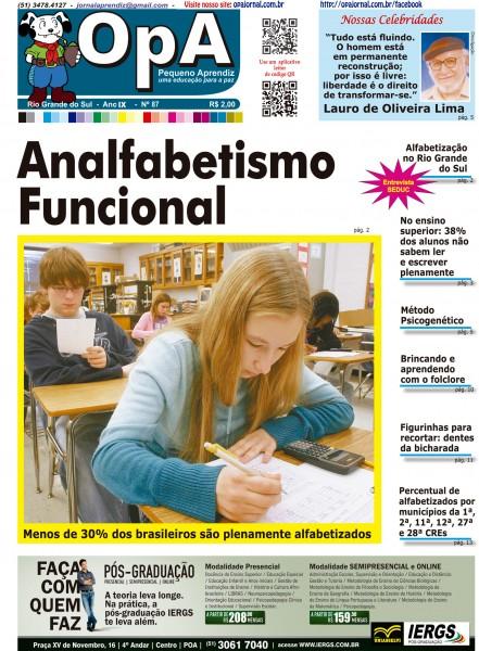 Capa do jornal O Pequeno Aprendiz Edição 087 de Agosto de 2012.