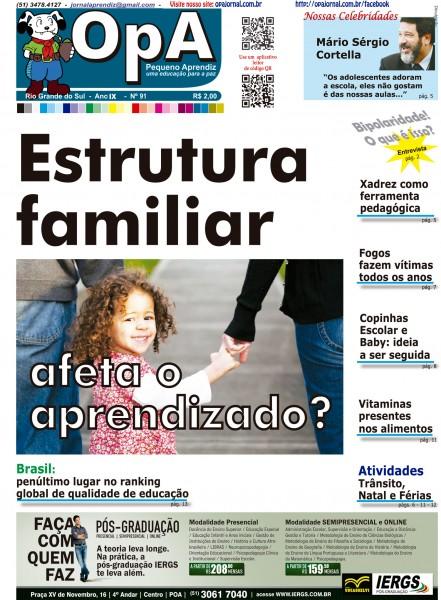 Capa do jornal O Pequeno Aprendiz Edição 091 de Dezembro de 2012.