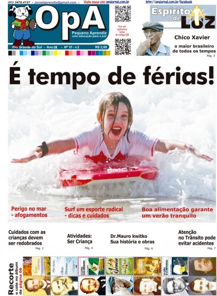 Capa do jornal O Pequeno Aprendiz Edição 091 V2 de Dezembro de 2012.