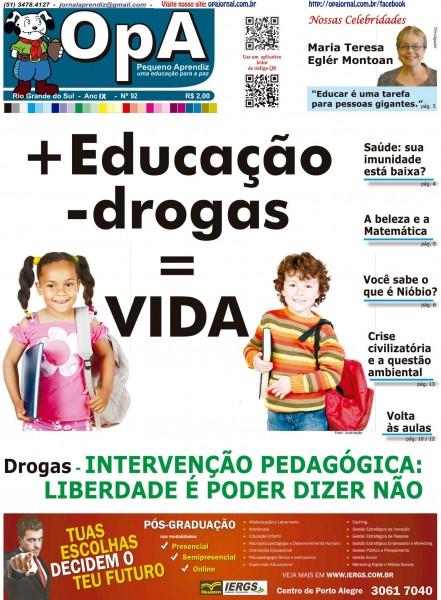 Capa do jornal O Pequeno Aprendiz Edição 092 de Março de 2013