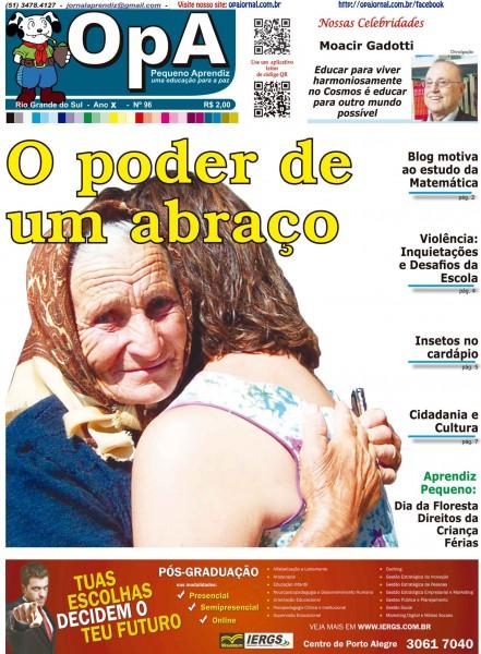 Capa do jornal O Pequeno Aprendiz Edição 096 de Julho de 2013
