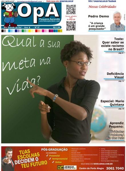 Capa do jornal O Pequeno Aprendiz Edição 097 de Agosto de 2013