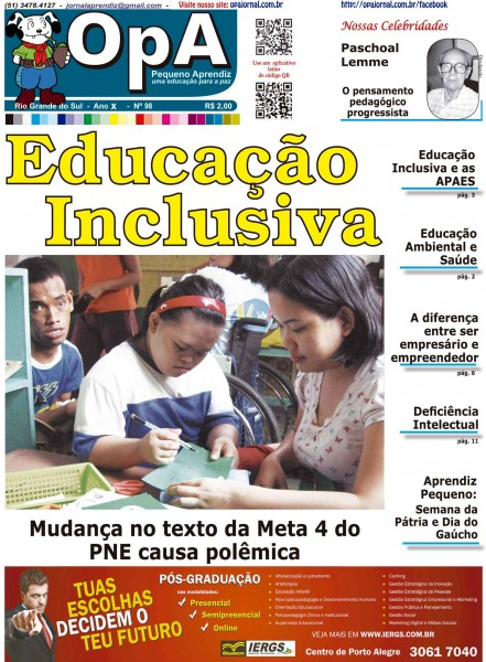 Capa do jornal O Pequeno Aprendiz Edição 098 de Setembro de 2013