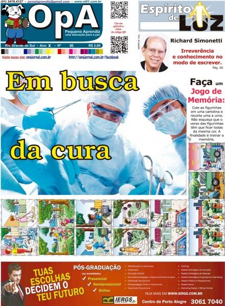 Capa do jornal O Pequeno Aprendiz Edição Especial 9E de Agosto de 2013
